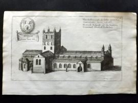 Dugdale & King 1718 Print. South Prospect of Theokesbury. Tewkesbury Abbey